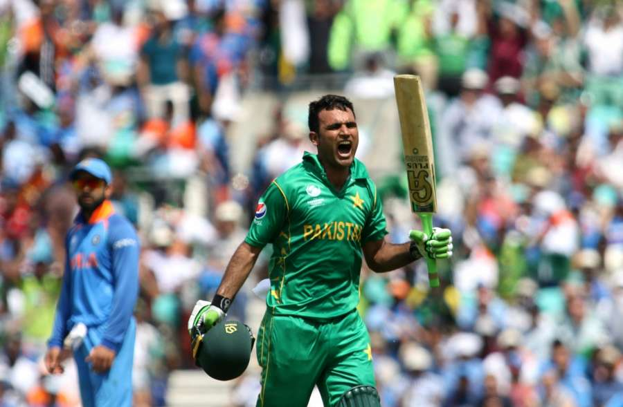 London : Fakhar Zaman of Pakistan celebrates his century during the ICC Champions Trophy Final match between India and Pakistan at Kennington Oval in London on June 18, 2017. (Photo: Surjeet Yadav/IANS) by .