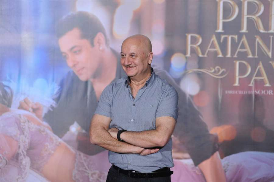 Mumbai: Actor Anupam Kher during the trailer launch of upcoming film Prem Ratan Dhan Payo, in Mumbai on Oct 1, 2015. (Photo: IANS) by .