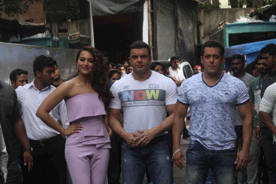 Mumbai: Actors Salman Khan, Sohail Khan and Sonakshi Sinha during the promotion of film Tubelight on the sets of Star Plus TV show Nach Baliye Season 8 in Mumbai, on June 7, 2017. (Photo: IANS) by .
