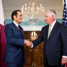 WASHINGTON, June 27, 2017 (Xinhua) -- U.S. Secretary of State Rex Tillerson (R) shakes hands with Qatari Foreign Minister Sheikh Mohammed bin Abdulrahman Al-Thani during their meeting in Washington D.C., the United States, on June 27, 2017. (Xinhua/Ting Shen/IANS) by .
