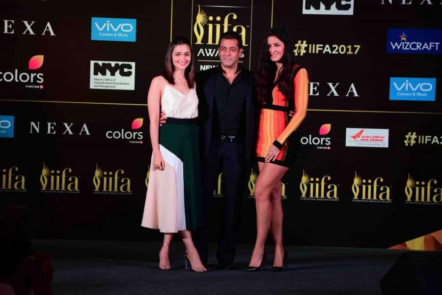 Mumbai: Actors Alia Bhatt, Salman Khan and Katrina Kaif during the press conference of 18th International Indian Film Academy (IIFA) awards in Mumbai on June 1, 2017. (Photo: IANS) by .