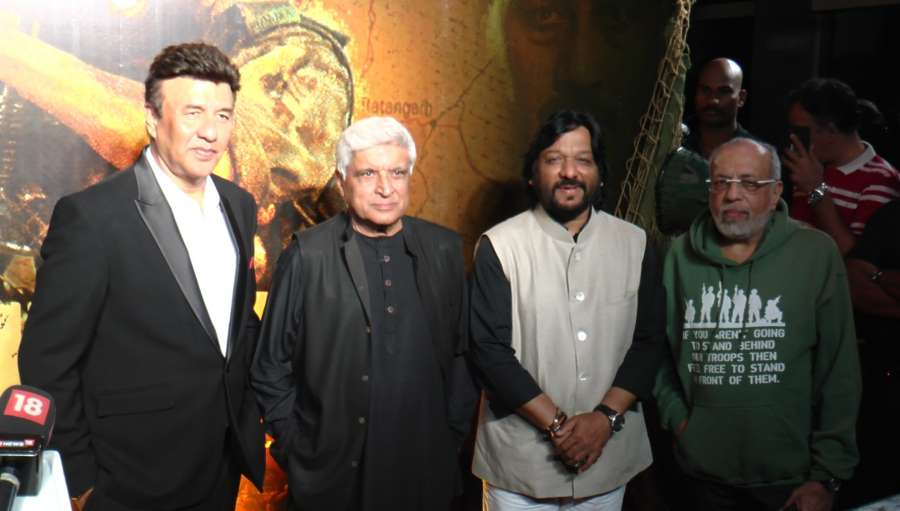 Mumbai: (L to R) Bollywood music composer Anu Malik, lyricist Javed Akhtar, singer Roop Kumar Rathod and filmmaker J P Dutta during the celebrations 20 years completion of film Border, in Mumbai in Mumbai on June 11, 2017. (Photo: IANS) by .