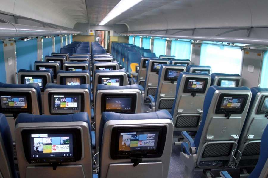 New Delhi: An inside view of country's first Tejas rake that offers enhanced passenger comfort, communications and entertainment facilities stationed at Safdarjung railway station in New Delhi on May 19, 2017. The 20-coach train has been manufactured at the Rail Coach Factory (RCF) in Kapurthala. (Photo: IANS) by .