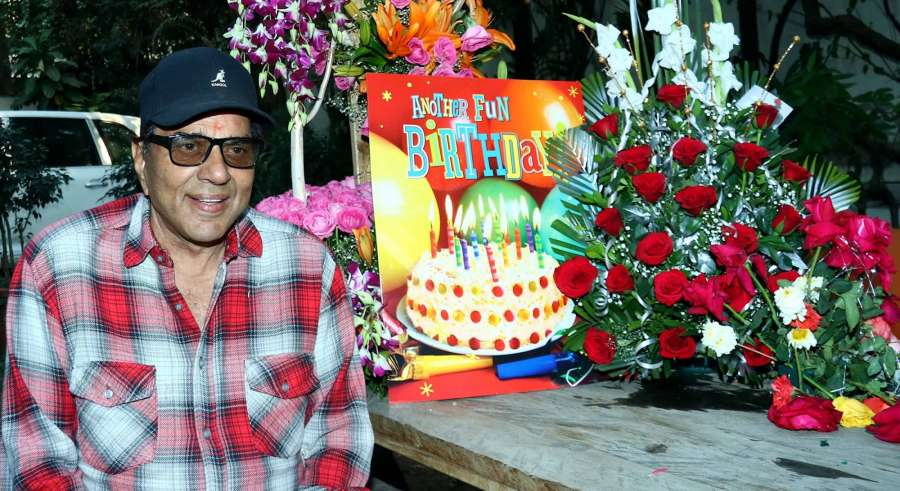 Mumbai: Actor Dharmendra celebrates his 81st birthday at his residence, in Mumbai, on Dec 8, 2016. (Photo: IANS) by .