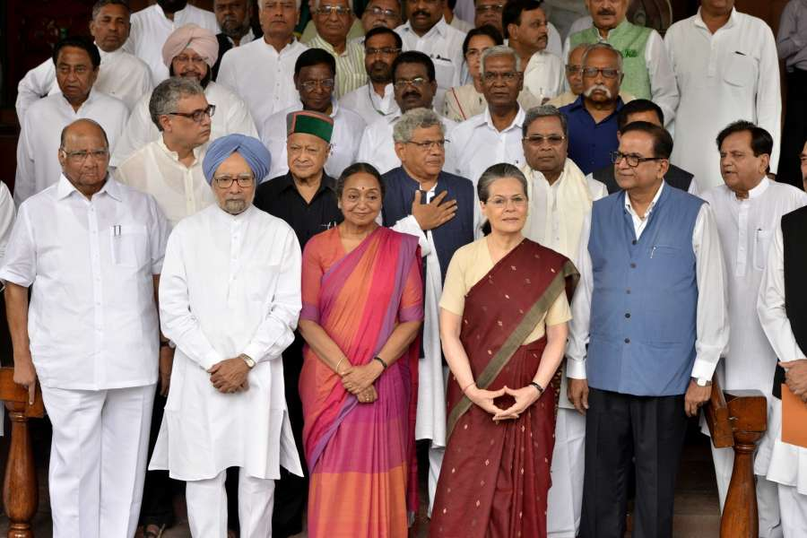 New Delhi: UPA's presidential candidate Meira Kumar arrives at Parliament to file her nomination papers with Congress President Sonia Gandhi, Dr Manmohan Singh (Congress), Sitaram Yechury (CPI-M), Virbhadra Singh (Congress), Kamal Nath (Congress), Derek O'Brien (Trinamool Congress), Siddaramaiah (Congress), Sharad Pawar (NCP) and others on June 28, 2017. (Photo: IANS) by .
