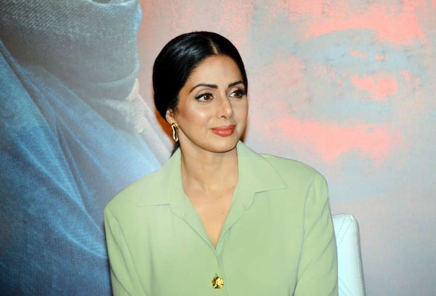 "Mumbai: Actress Sridevi during the trailer launch of her upcoming film ""Mom"" in Mumbai, on June 3, 2017. (Photo: IANS) by ."
