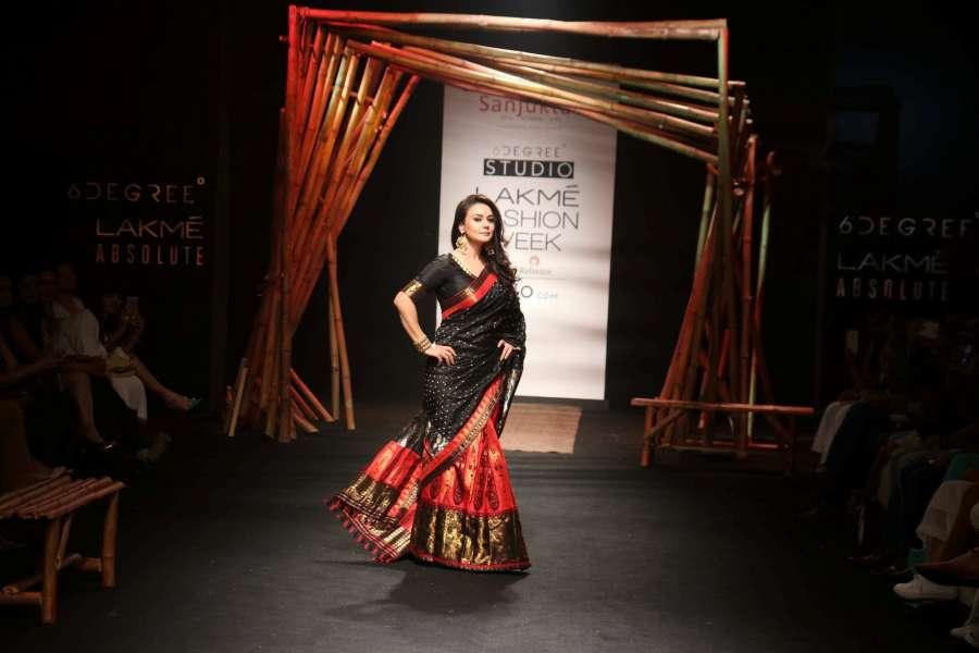 Mumbai: Actress Preity Zinta displays the creation of fashion designer Sanjukta Dutta during the Lakme Fashion Week Summer/Resort 2017, in Mumbai, on Feb 2, 2017. (Photo: IANS) by .