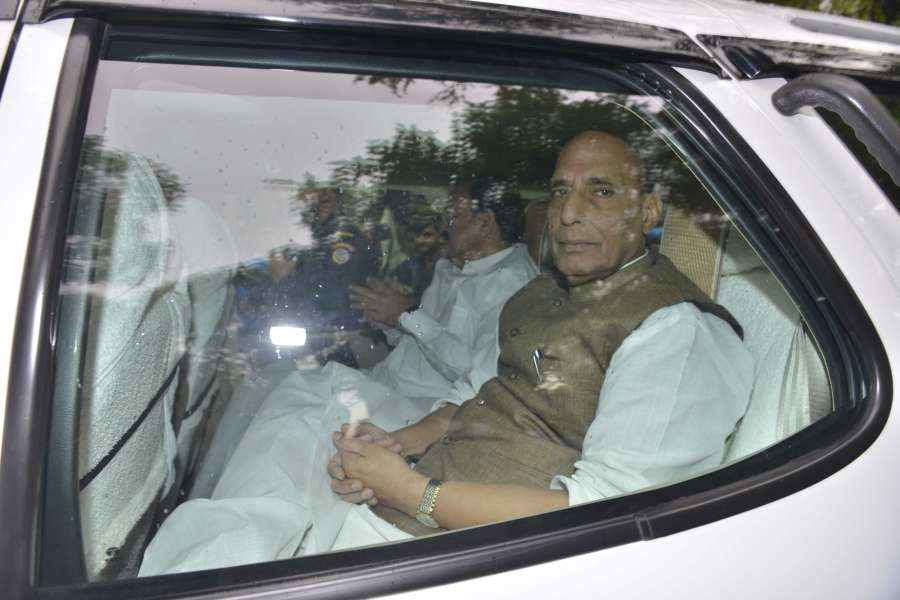 New Delhi: Union Ministers Rajnath Singh and M Venkaiah Naidu leave after meeting Congress chief Sonia Gandhi in New Delhi on June 16, 2017. (Photo: IANS) by .
