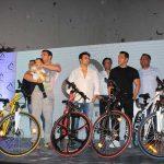 Mumbai: Actors Salman Khan, Sohail Khan, Arbaaz Khan and Ahil during the launch of Being Human electric bicycles in Mumbai on June 5, 2017. (Photo: IANS) by .