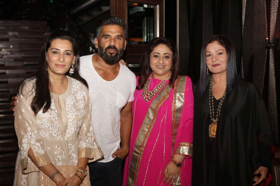Mumbai: Actor Suniel Shetty with his wife Mana Shetty, actress Bindiya Goswami and filmmaker Pooja Bhatt during the celebrations 20 years completion of film Border, in Mumbai in Mumbai on June 11, 2017. (Photo: IANS) by .