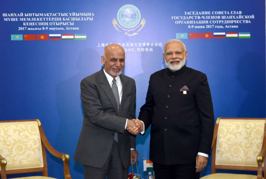 Astana: Prime Minister Narendra Modi meets Afghanistan President Dr. Mohammad Ashraf Ghani on the sidelines of the SCO Summit in Astana, Kazakhstan on June 9, 2017. (Photo: IANS/PIB) by .