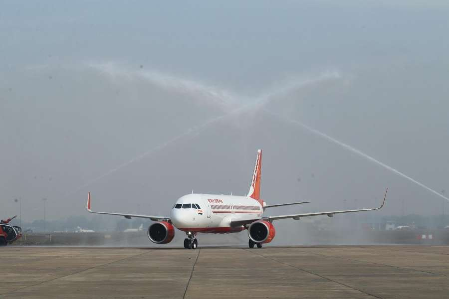 New Delhi: Air India Airbus A-320 Neo gets Water Canon Salute as it lands in New Delhi on Feb 16, 2017. (Photo: IANS) by .