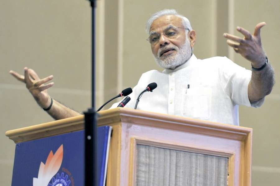 New Delhi: Prime Minister Narendra Modi interacts with children during CSIR Platinum Jubilee Celebrations in New Delhi on Sept 26, 2016.(Photo: IANS) by .