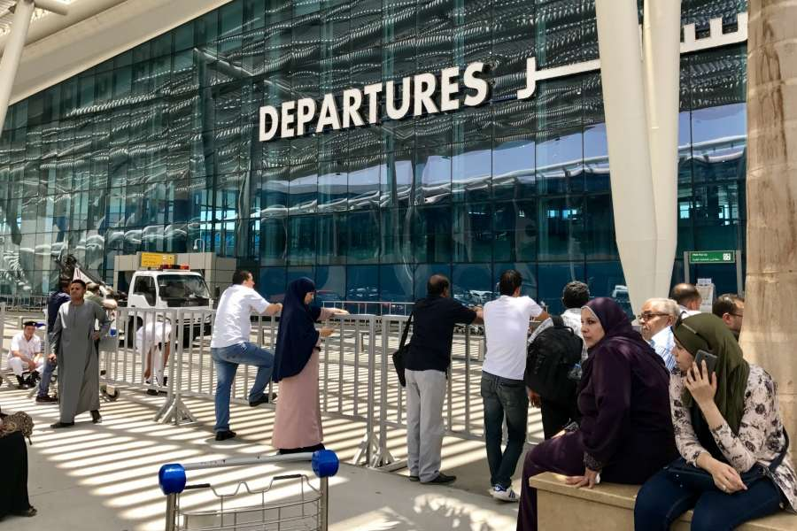 CAIRO, June 5, 2017 (Xinhua) -- Photo taken on June 5, 2017 shows people waiting at Cairo International Airport in Cairo, Egypt. Egypt announced on Monday the cut of diplomatic ties with Qatar, accusing the Gulf Arab state of supporting