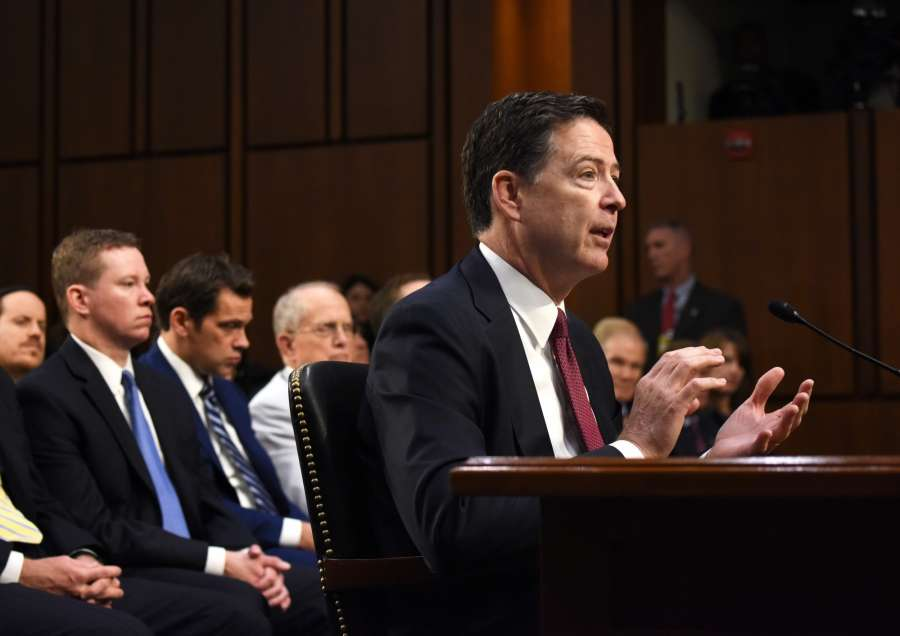 WASHINGTON, June 8, 2017 (Xinhua) -- Former Director of Federal Bureau of Investigations James Comey speaks during a Senate Intelligence Committee hearing on Capitol Hill, in Washington D.C., the United States, on June 8, 2017. James Comey said Thursday during a Senate hearing that Trump in his words did not order the FBI to drop the investigation on former National Security Advisor Michael Flynn. (Xinhua/Yin Bogu/IANS) by .