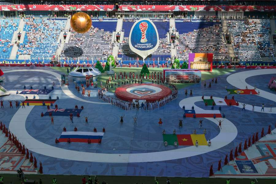 SAINT PETERSBURG, June 17, 2017 (Xinhua) -- Photo taken on June 17, 2017 shows the opening ceremony of the FIFA Confederations Cup 2017 in Saint Petersburg, Russia. (Xinhua/Bai Xueqi/IANS) by .