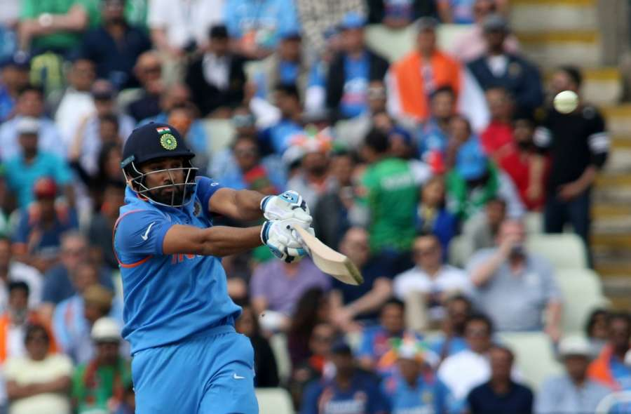 Birmingham: Rohit Sharma of India in action during the second Semi-final match of ICC Champions Trophy between India and Bangladesh at Edgbaston in Birmingham, Britain on June 15, 2017. (Photo: Surjeet Yadav/IANS) by .