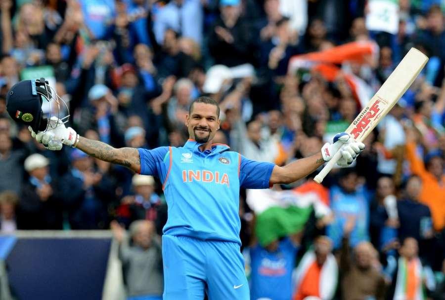 London: Shikhar Dhawan of India celebrates his century during ICC Champions Trophy, Group B match between India and Sri Lanka at Kennington Oval, London, UK on June 8, 2017. (Photo: Bipin Patel/IANS) by .