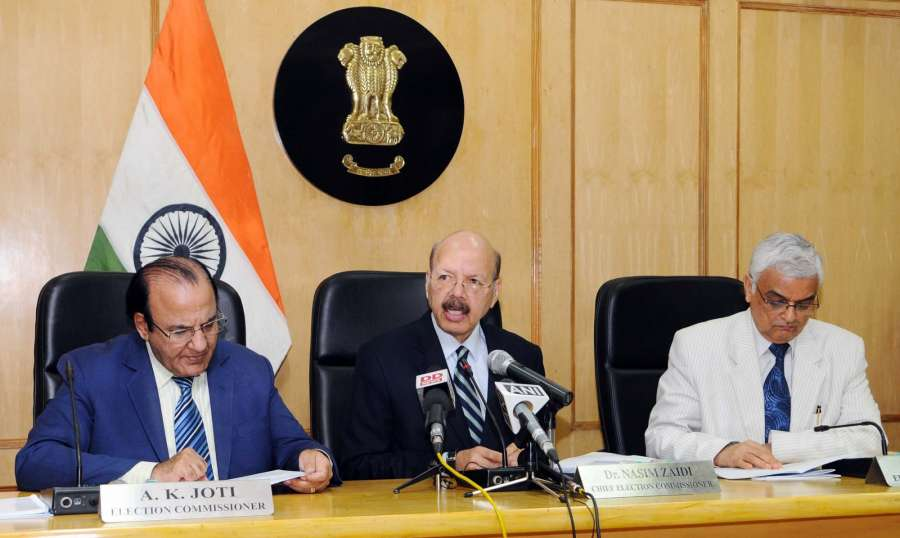 New Delhi: Chief Election Commissioner Dr. Nasim Zaidi addresses the press conference on Presidential Election, in New Delhi on June 7, 2017. Also seen Election Commissioners AK Joti and OP Rawat. (Photo: IANS) by .