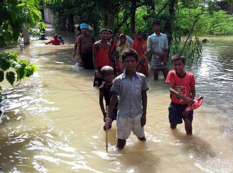 Khagaria: A view of a flood hit village in Khagaria district of Bihar on Aug 22, 2016. (Photo: IANS) by .