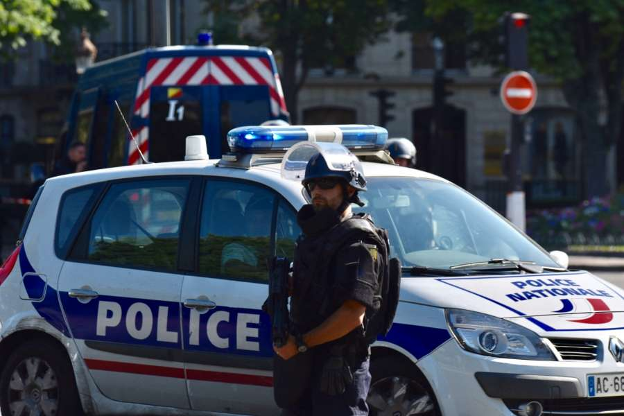 PARIS, June 19, 2017 (Xinhua) -- Police officers patrol near the Champs-Elysees avenue on June 19, 2017 in Paris, France. A car rammed into a police van Monday on the Champs-Elysees avenue in Paris before bursting into flames, French Interior Minister Gerard Collomb said. (Xinhua/Li Genxing/IANS) by .