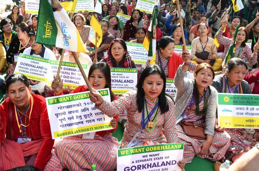 New Delhi: Gorkha Janmukti Morcha workers stage a demonstration to press for their demands of separate state of Gorkhaland at Jantar Mantar in New Delhi on Dec 12, 2016. (Photo: IANS) by .