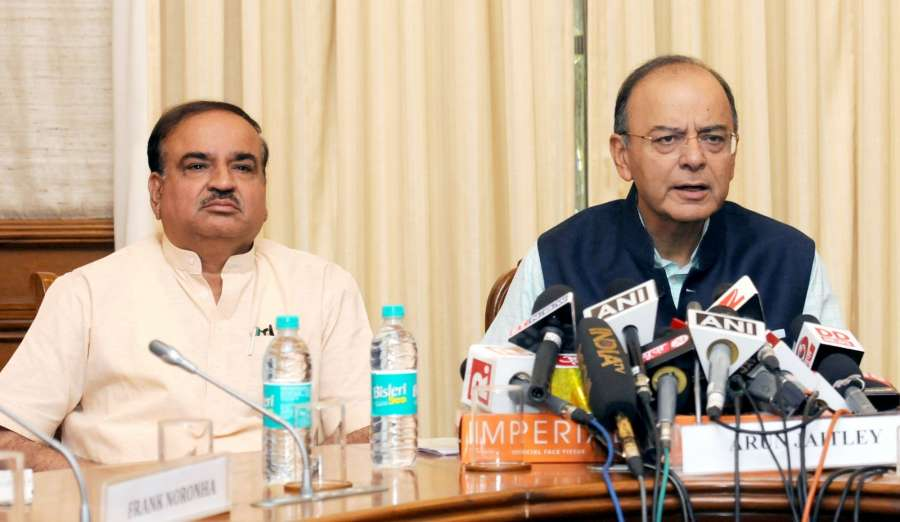 New Delhi: Union Finance Minister Arun Jaitley along with the Union Chemicals & Fertilizers Minister Ananth Kumar holding a press conference in on June 20, 2017. (Photo: IANS/PIB) by .