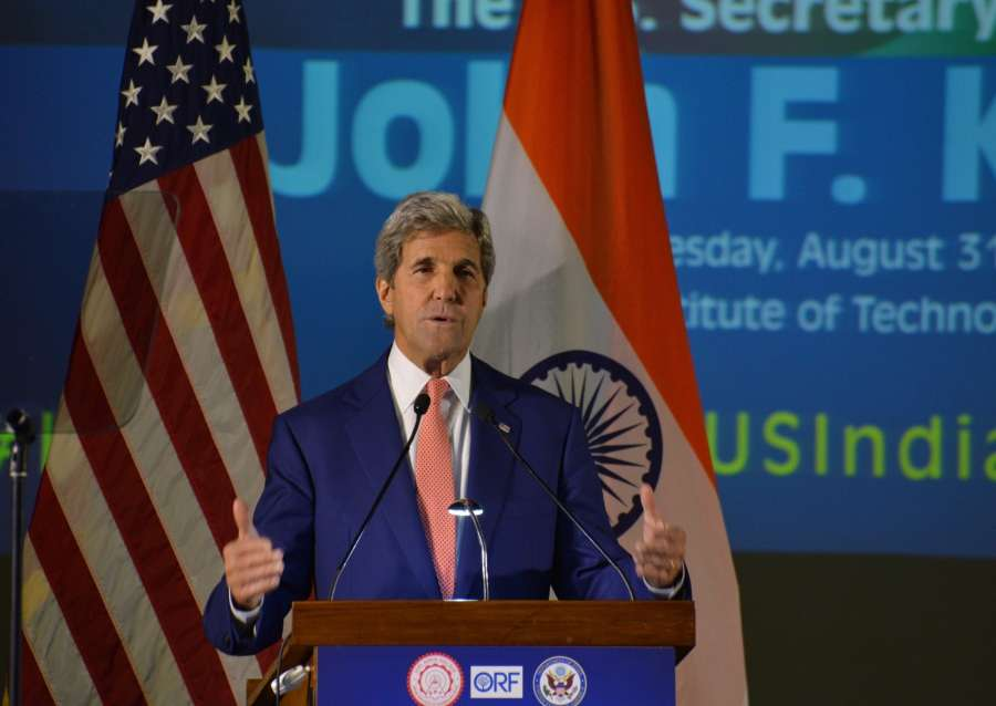 New Delhi: US Secretary of State John Kerry addresses at IIT Delhi on Aug 31, 2016. (Photo: IANS) by .