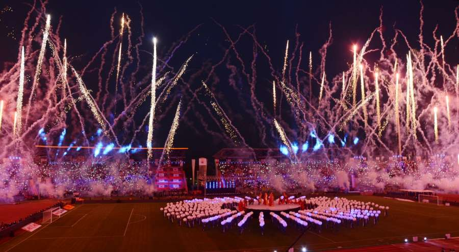 Guwahati: Fireworks during Indian Super League Season (ISL) opening ceremony in Guwahati on Oct 1, 2016. (Photo: IANS) by .