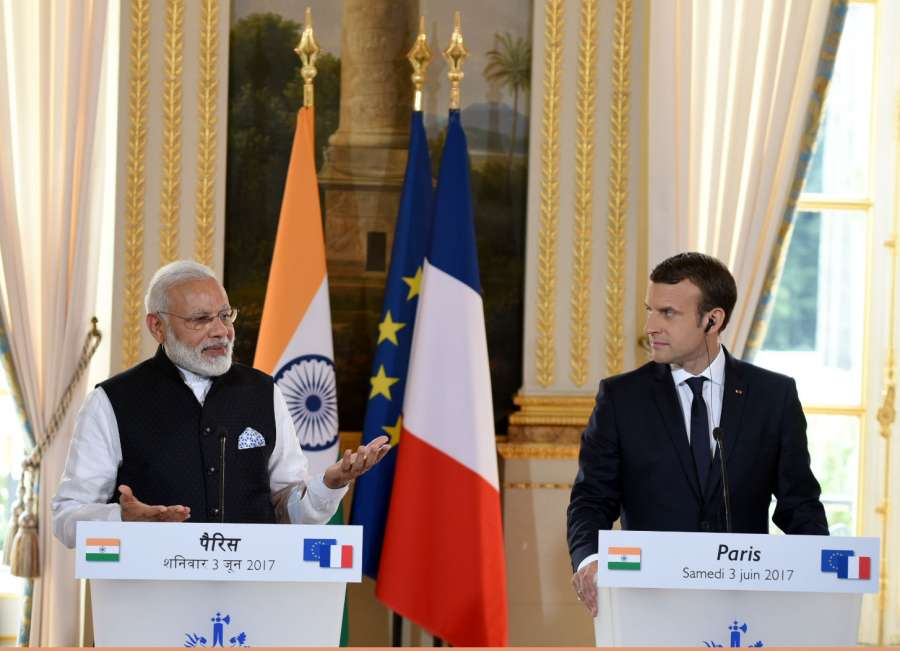 Paris: Prime Minister Narendra Modi and French President Emmanuel Macron at the joint press meet, in Paris on June 3, 2017. (Photo: IANS/PIB) by .