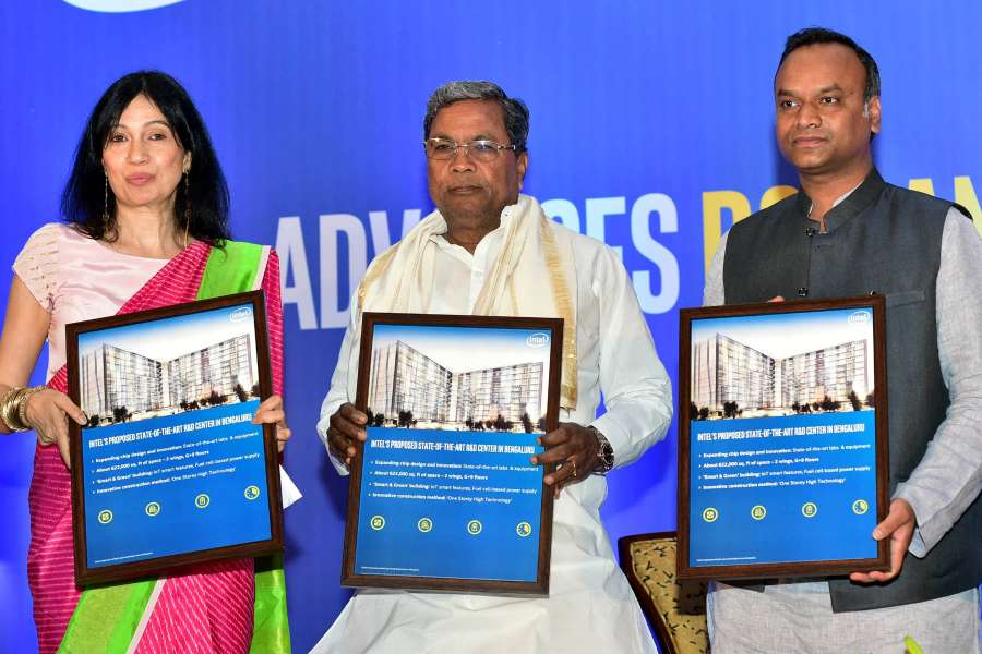 Bengaluru: Karnataka Chief Minister Siddaramaiah with Karnataka IT minister Priyank Kharge and Intel India General Manager Nivruti Rai during a press conference to announce US-based multinational's investment and expansion plans in the Indian sub-continent, in Bengaluru, on June 14, 2017. (Photo: IANS) by .