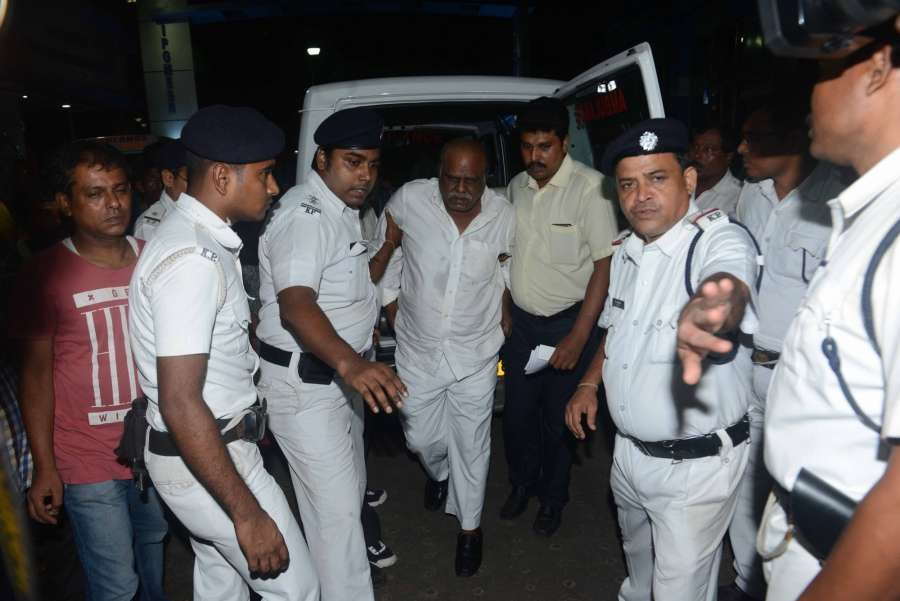 Kolkata: Justice C.S Karnan being taken to SSKM hospital for treatment in Kolkata, on June 21, 2017. (Photo: IANS) by .