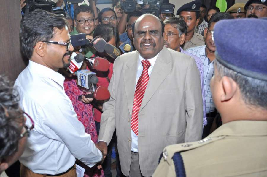"Kolkata: Calcutta High Court judge Justice C.S. Karnan who refused to be examined by a medical team, as ordered by the Supreme Court, terming it a ""mad order passed by mad judges""; in Kolkata on May 4, 2017. Karnan said he is mentally fit. He is facing contempt charges for degrading the judiciary and making allegations of corruption against several Supreme Court judges. (Photo: Kuntal Chakrabarty/IANS) by ."