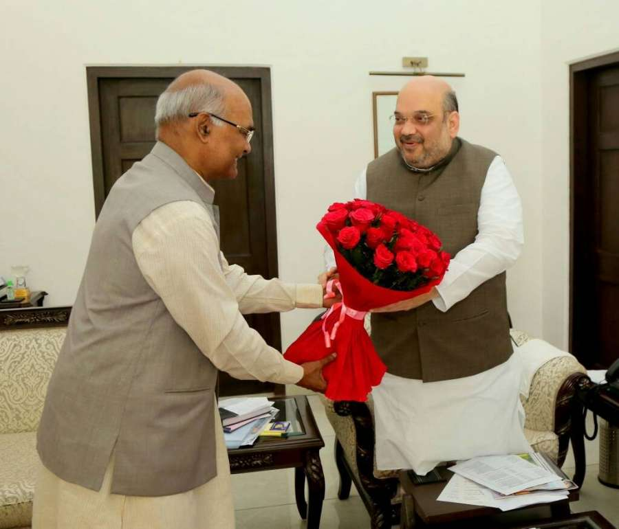 New Delhi: Bihar Governor Ram Nath Kovind and the Presidential candidate of the ruling National Democratic Alliance (NDA) meets BJP chief Amit Shah in New Delhi on June 19, 2017. (Photo: IANS) by .