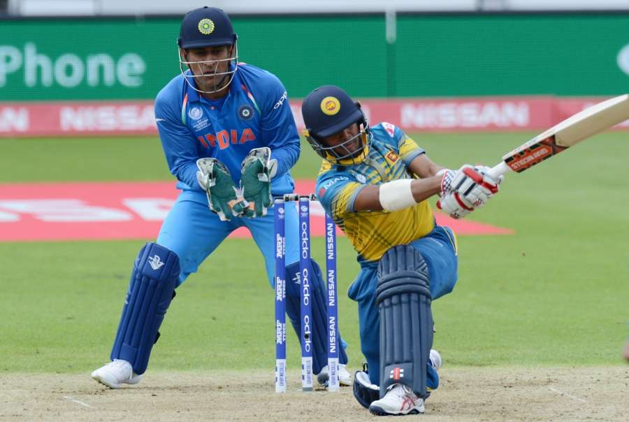 London: Kusal Mendis of Sri Lanka in action during ICC Champions Trophy, Group B match between India and Sri Lanka at Kennington Oval, London, UK on June 8, 2017. (Photo: Bipin Patel/IANS) by .