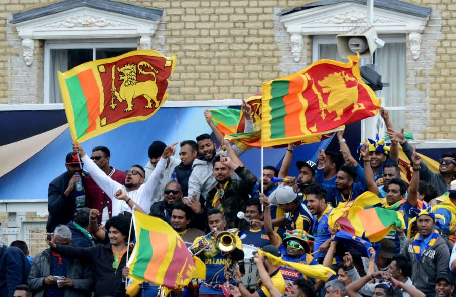London: Sri Lankan fans cheer during ICC Champions Trophy, Group B match between India and Sri Lanka at Kennington Oval, London, UK on June 8, 2017. (Photo: Bipin Patel/IANS) by .