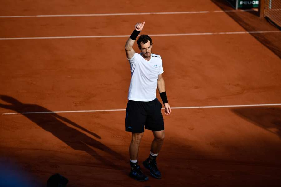PARIS, June 8, 2017 (Xinhua) -- Andy Murray of Britain celebrates after winning the men's quarterfinal match against Kei Nishikori of Japan at the 2017 French Open Tennis Tournament in Paris, France on June 7, 2017. Andy Murray won 3-1. (Xinhua/Chen Yichen/IANS) by .