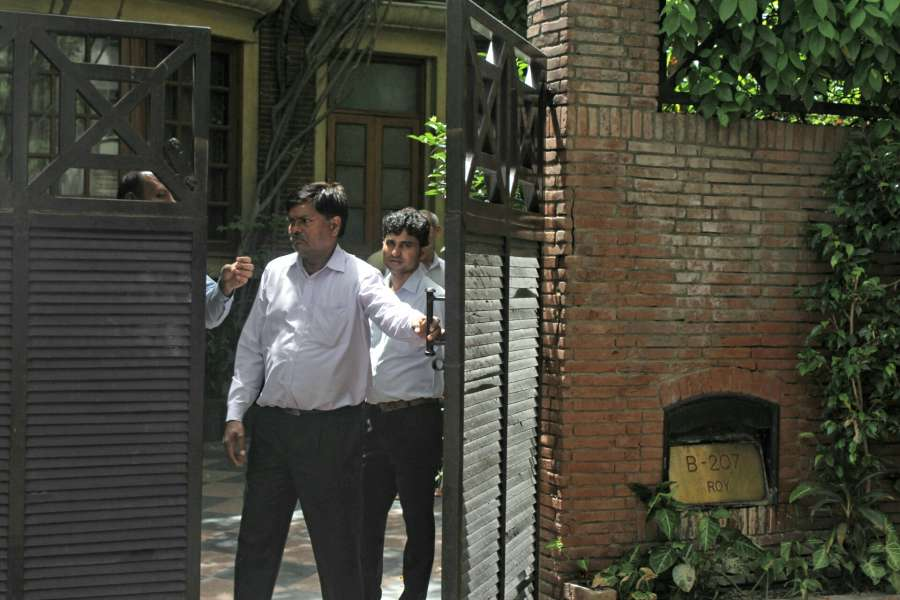 New Delhi: CBI conducts raids at NDTV founder Pronnoy Roy's residence in New Delhi on June 5, 2017. The agency registered a case against him and his wife for causing alleged loss to a bank. (Photo: IANS) by .
