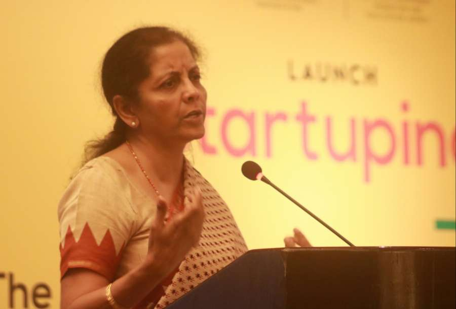 New Delhi: Minister of State for Commerce & Industry (Independent Charge) Nirmala Sitharaman addresses during the launch of 'Start-Up India Hub' in New Delhi on June 19, 2017. (Photo: IANS) by .