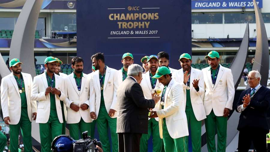 London : Pakistani players celebrate after winning the ICC Champions Trophy at Kennington Oval in London on June 18, 2017. (Photo: Surjeet Yadav/IANS) by .