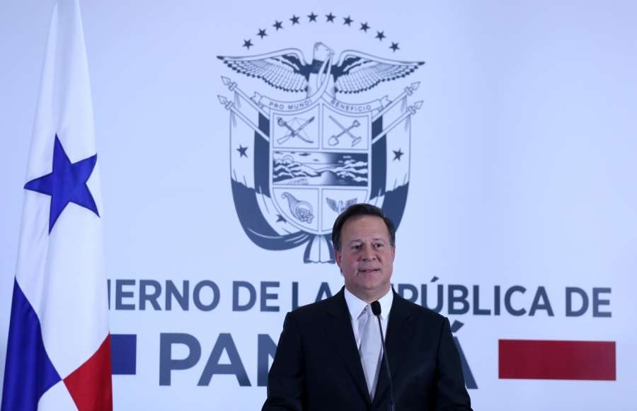 PANAMA CITY, June 13, 2017 (Xinhua) -- Panamanian President Juan Carlos Varela delivers a speech in Panama city, Panama, June 12, 2017. Panamanian President Juan Carlos Varela announced on Monday that the Republic of Panama and the People's Republic of China have established diplomatic relations. (Xinhua/Panama's Presidency/IANS) (zcc) by .
