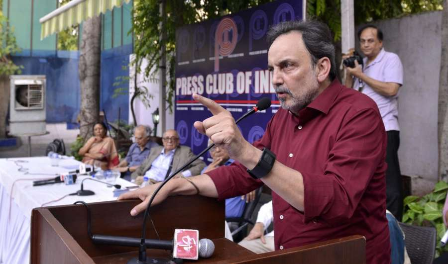 New Delhi: NDTV co-founder Prannoy Roy addresses a during protest meet organised at the Press Club of India following CBI searches at his houses; in New Delhi, on June 9, 2017. (Photo: IANS) by .