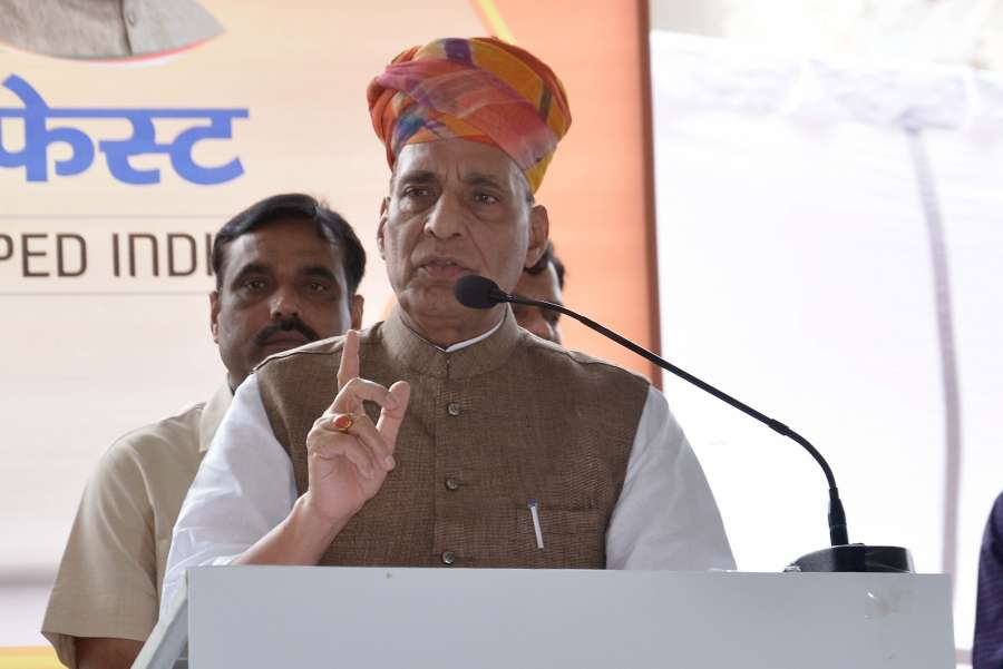 Jaipur: Union Home Minister Rajnath Singh during 'Modi Fest' (Making of Developed India Festival) being organised at Muhana Mandi in Jaipur on June 9, 2017. (Photo: Ravi Shankar Vyas/IANS) by .