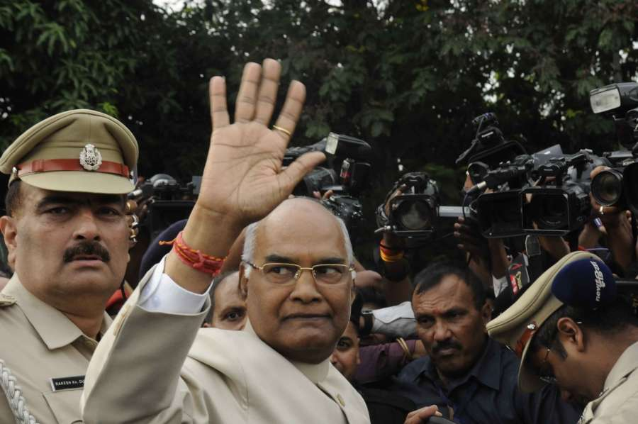 Patna: Bihar Governor Ram Nath Kovind leaves for Delhi after being declared Presidential candidate of the ruling National Democratic Alliance (NDA) in Patna on June 19, 2017. (Photo: IANS) by .