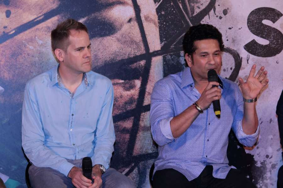 Mumbai: Filmmaker James Erskine and Sachin Tendulkar during the trailer launch film Sachin: A Million Dreams in Mumbai on April 13, 2017. (Photo: IANS) by .