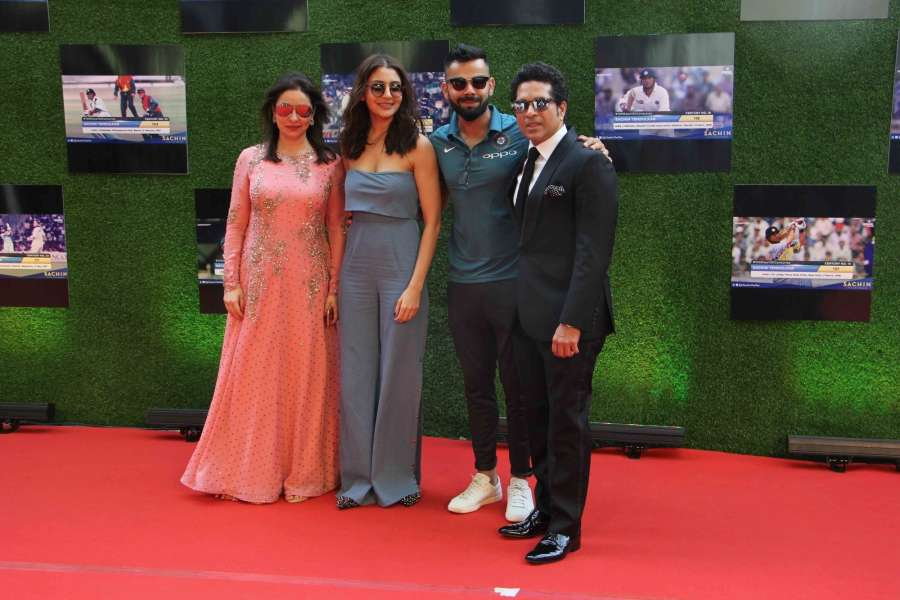Mumbai: Anjali Tendulkar, Bollywood actress Anushka Sharma, Indian cricket players Virat Kohli and Sachin Tendulkar during the premiere of film Sachin: A Billion Dreams in Mumbai, on May 24, 2017. (Photo: IANS) by .
