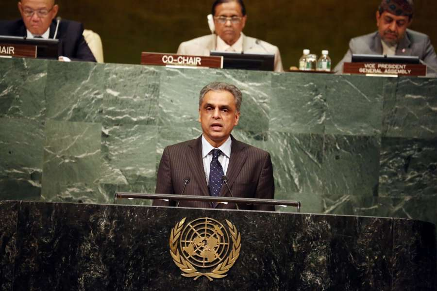 "United Nation: India's Permanent Representative to the UN Syed Akbaruddin addresses at ""VESAK 2017"" at United Nation on May 11, 2017. (Photo: Mohammed Jaffer/IANS) by ."