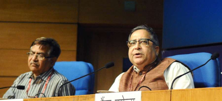 New Delhi: Chief Statistician of India Dr. T.C.A. Anant addresses a press conference after release of Press Note on Provisional Estimates of Annual National Income, 2016-17 and Quarterly Estimates of Gross Domestic Product for the Fourth Quarter of 2016-17, in New Delhi on May 31, 2017. (Photo: IANS/PIB) by .