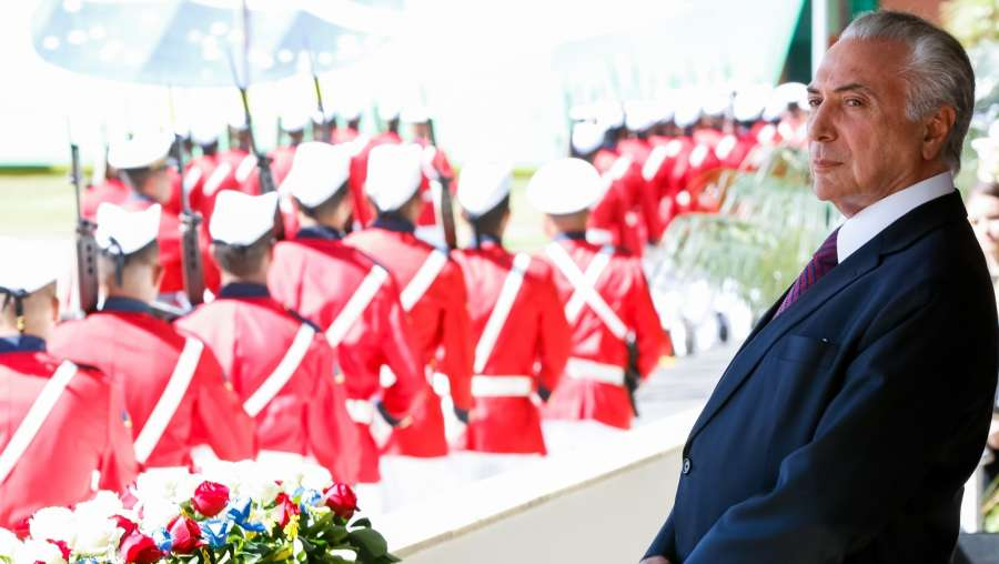 BRASILIA, June 10, 2017 (Xinhua) -- Image provided by the Brazilian Presidency shows Brazilian President Michel Temer taking part in the ceremony marking the 152nd anniversary of the Riachuelo naval battle, in Brasilia, capital of Brazil, on June 9, 2017. Brazil's top electoral court on Friday voted against a case that could have potentially stripped Temer of his presidency. (Xinhua/Marcos Correa/Brazil's Presidency/IANS) by .