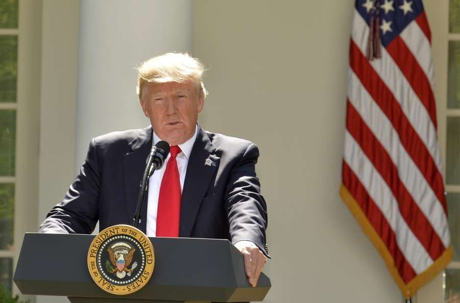 WASHINGTON, June 1, 2017 (Xinhua) -- U.S. President Donald Trump delivers a speech at the White House in Washington D.C., capital of the United States, on June 1, 2017. U.S. President Donald Trump said on Thursday that he has decided to pull the United States out of the Paris Agreement, a landmark global pact to fight climate change. (Xinhua/Mike Theiler/IANS) by .